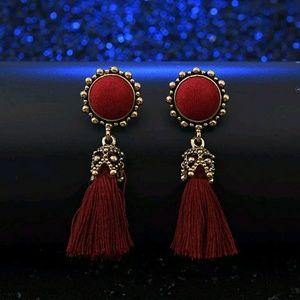 Crystal Tassel Dangle Stud Earrings